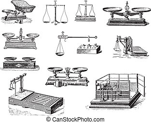 Antique balance - Collection of weighing tools and...