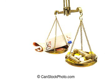 antique balance scale with medicine and money on white background