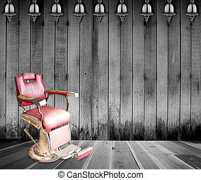 Antique barber chair in room