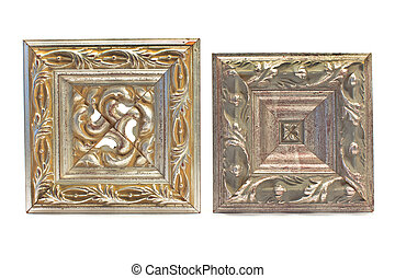Antique baroque silver frames isolated on white