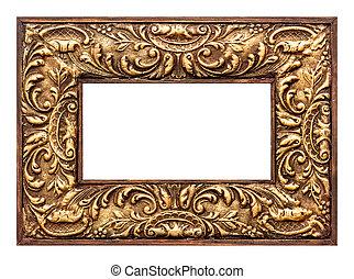 antique baroque style golden picture frame. vintage background