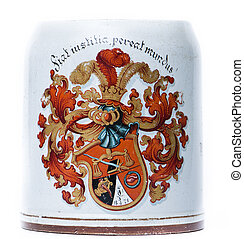 antique beer tankard with a coat of arms