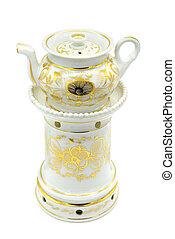 antique Biedermeier Time porcelain tea pot