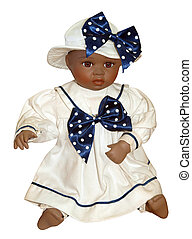 Antique Black Doll isolated with clipping path.