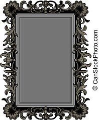 Antique carved frame Gold antique frame isolated on white stock