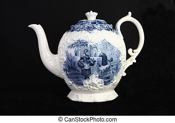 Antique Blue and White Teapot - An antique blue and white...
