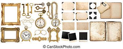 Antique book, aged paper, golden keys. Collection of vintage obj