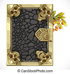 Antique book cover shut with black leather texture and skulls in the corners  top view isolated on white background