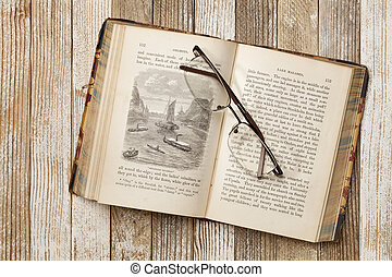 antique book on a grunge table