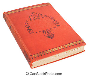 Antique book - Book past age in scarlet cover on the white...