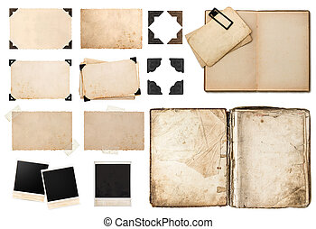 antique book, vintage paper card with corners, tapes and frames