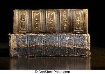 Antique Books - Antique Bible and Church Service books on a...
