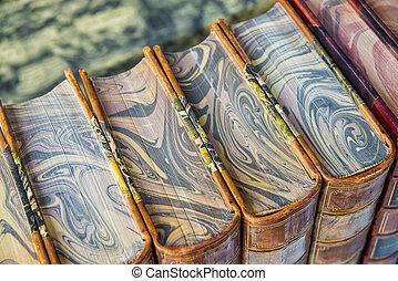 Antique books, close-up, top view