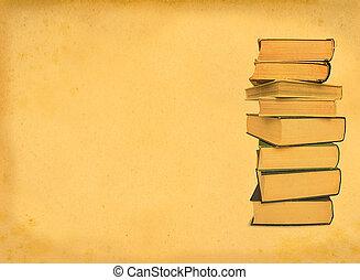 antique books on retro background