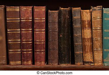 Antique books on bookshelf