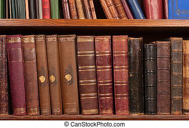 Antique books on shelf   - Antique books on bookshelf