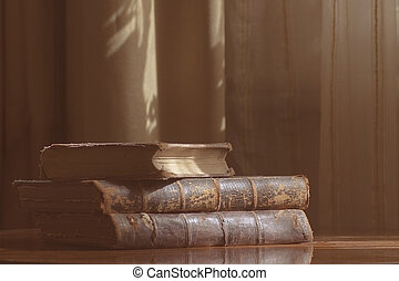 antique books on the table i