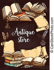 Antique books shop, vintage vector sketch poster