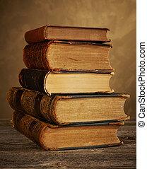 Antique books stack