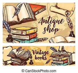 Antique books vector banners, vintage bookshop