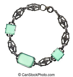 antique bracelet with green stones isolated on white