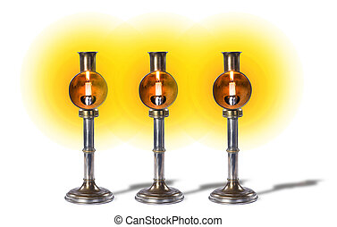 Antique Brass and nickle candlesticks. - Antique spring ...