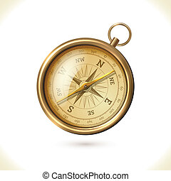 Antique brass compass - Antique brass metal compass isolated...