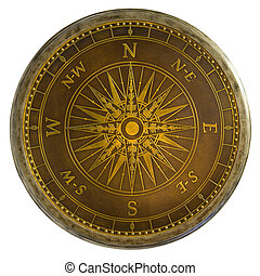 Antique Brass Compass - Round Antique Brass Nautical Compass...