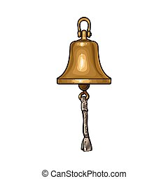 Antique brass, copper ship bell with rope