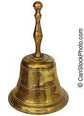 Antique brass hand bell isolated on white