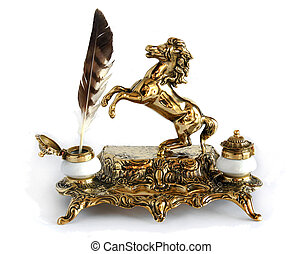 Antique brass inkwell Horse