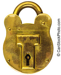 Antique brass padlock isolated on white