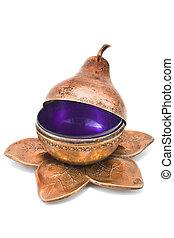 Antique brass pear-shaped pot