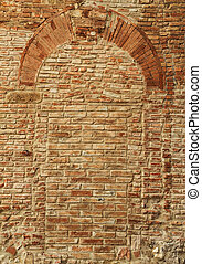 antique brick wall with arch pattern, Certaldo