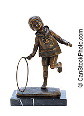 Antique bronze figurine of the boy with hoop. Isolated image.