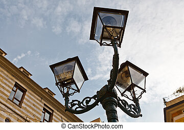 Antique Bronze Lamppost in Genoa, Italy