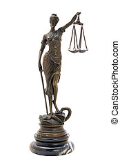 antique bronze statuette of the goddess Themis. Isolated image.