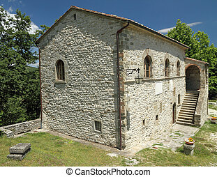 Antique building where was born genius  Michelangelo  di Lodovico Buonarroti Simoni,Caprese Michelangelo in the province of Arezzo, Tuscany, Italy