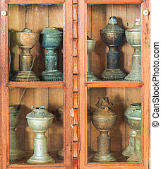Antique cabinet and Old vase