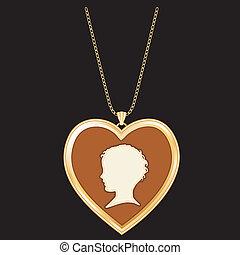 Antique Cameo Heart Locket, Child - Antique Gold Heart...