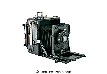 Detailed photograph of a vintage bellows press type camera