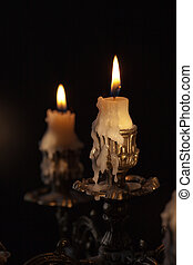 Antique candlestick - Bronze antique candlestick with...
