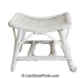 Antique Cane Stool isolated with clipping path.
