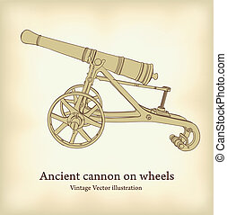 Antique cannon on wheels. Vintage Vector illustration.