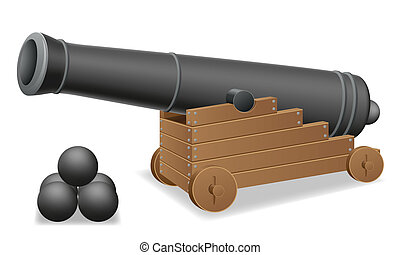 antique cannon vector illustration isolated on white...