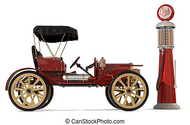 1910 style antique car and gas pump