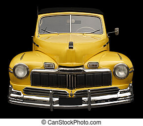 Antique car - The grill, hood and headlamps of an antique ...