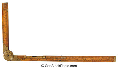 Antique carpenter's boxwood folding rule of 19th century marked Rabone with brass level and protractor isolated on white with clipping path included