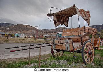 Antique carriage in El Chalten near Fitz Roy, Argentina.