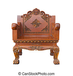 wood armchair - Antique carve wood armchair isolated on ...